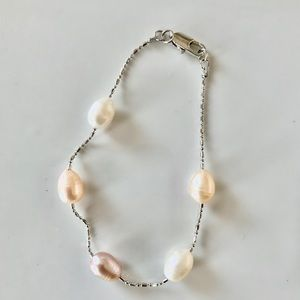 Rose Gold and White Faux Pearl Bracelet